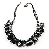 Black Pearl & Shell Bead Cord Necklace (Silver Tone)