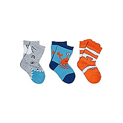 F&F 3 Pair Pack of Sea Creature Socks 0 Newborn Multi