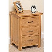 Boston Solid Oak 3 Drawer Bedside table cabinet