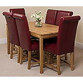 Bevel Solid Oak 150 cm with 6 Washington Leather Chairs (Burgundy)