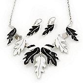 Black/White Enamel 'Leaf' Necklace & Drop Earrings Set In Silver Plating - 40cm Length/ 6cm Extension