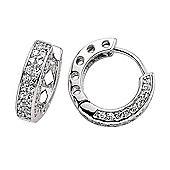 Jewelco London Rhodium-Coated Sterling Silver Huggie Earrings