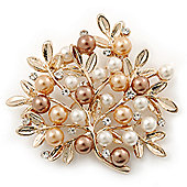 Gold Plated Pearl 'Tree' Brooch - 50mm Across