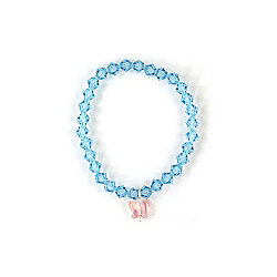 Glitzy Girls Blue Swarovski Crystal Pink Butterfly Bracelet - Small