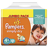 Pampers Simply Dry Size 4+ Jumbo Pack - 70 nappies