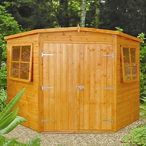 Buy finewood shiplap wooden corner shed 8x8ft from our for Garden shed tesco