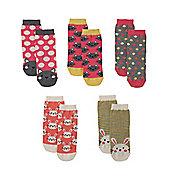 Mothercare Rabbit and Cat Socks- 5 Pack - Multi