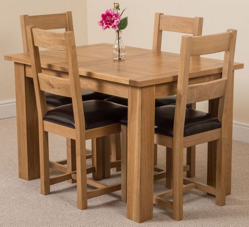 Buy Hampton Solid Oak Extending 120 160 Cm Dining Table With 4 Lincoln Oak