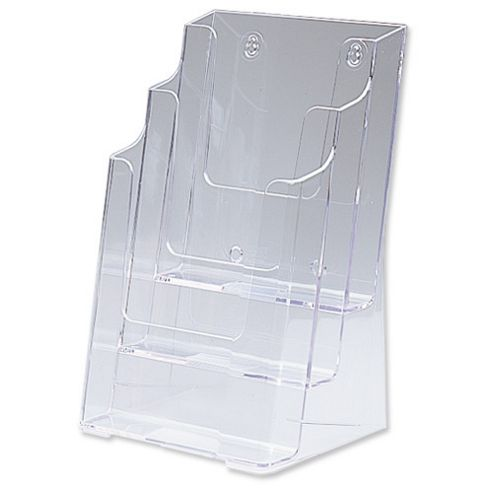 Deflecto Multi-tier Literature Display Holder for Wall or Desktop 3 x 1/3 A4 Pockets Clear Ref DE77401