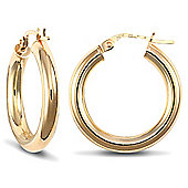 Jewelco London 9ct Yellow Gold 3mm Polished round-tube hoop Earrings