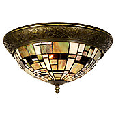 Arcade 38cm Tiffany Two Light Ceiling Light with Ring