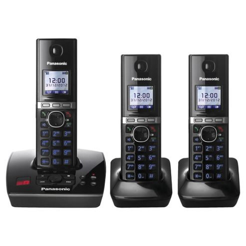 Panasonic KX-TG8063EB Triple Cordless Phone - Black