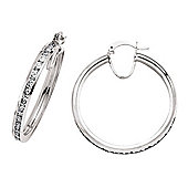 Jewelco London Rhodium-Plated Sterling Silver Hoop Earrings