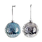 Decorative Blue & Silver Traditional Glass Christmas Baubles