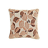 Linea Leaf Design Chenille Cushion, Latte