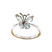 QP Jewellers 0.60ct Aquamarine Butterfly Ring in 14K Rose Gold