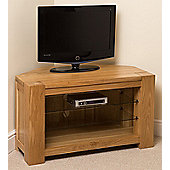 Kuba Chunky Solid Oak Corner Tv Unit Cabinet