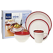 Denby Intro 16 Piece, 4 Person Dinner Set, Red