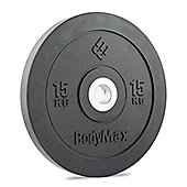 Bodymax Olympic Rubber Bumper Plate - Black 15kg