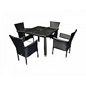 Cambridge 4 Stackable Chairs And Open Leg Square Table Set in Black and Vanilla