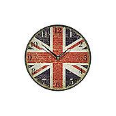 Smith & Taylor Union Jack Faded Glory Round Wall Clock