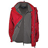Mens Storm 3 in 1 Waterproof Rainproof Jacket Coat + Fleece - Red