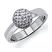 Sterling Silver Dazzling Disco Ball Solitaire Ring - White coloured Crystal