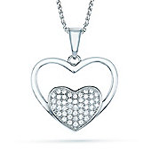 The REAL Effect Rhodium Coated Sterling Silver Cubic Zirconia Heart Pendant