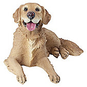Large Realistic Laying Golden Retriever Dog Statue Garden Ornament