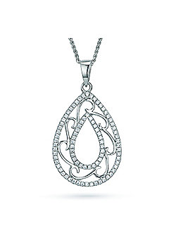 REAL Effect Rhodium Plated Sterling Silver White Cubic Zirconia Pear Shape with Swirls Charm Pendant - 16/18 inch