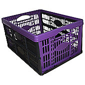 Tesco Plastic 32L Foldable Storage Crate, Purple