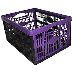 32L Foldable Plastic Storage Crate, Purple
