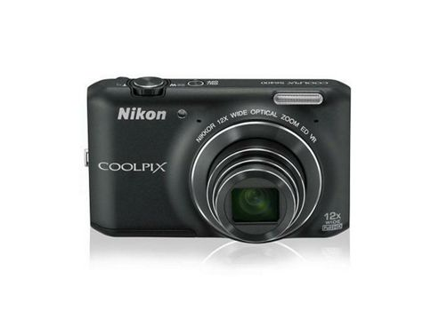 Nikon Coolpix S6400 Digital Camera, Black, 16MP, 12x Optical Zoom, 3.0 inch LCD Screen