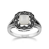 Gemondo 925 Sterling Silver 0.58ct Mother of Pearl & Marcasite Art Deco Ring