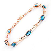 QP Jewellers 8.5in Diamond & Blue Topaz Classic Tennis Bracelet in 14K Rose Gold