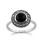Gemondo 925 Sterling Silver Art Deco 1.20ct Black Onyx & Marcasite Ring