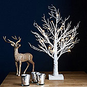 45cm Battery Indoor Pre-Lit LED White Glitter Twig Tree