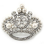 Clear & AB Crystal, Simulated Pearl 'Queenie' Crown Brooch In Rhodium Plated Metal - 5cm Length