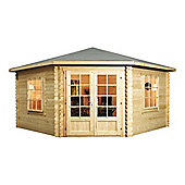 13ft x 13ft (4m x 4m) Corner Log Cabin (Single Glazing) + Large Windows 28mm