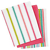 Tesco Bright Stripe tea towels 3 pack