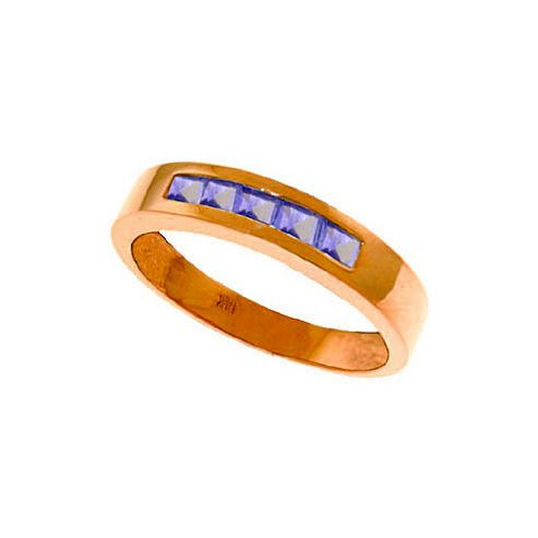 QP Jewellers 0.50ct Tanzanite Princess Prestige Ring in 14K Rose Gold - Size A