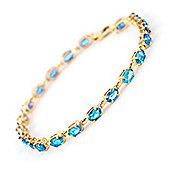 QP Jewellers 8.5in 5.50ct Blue Topaz Infinite Tennis Bracelet in 14K Gold