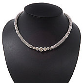 Rhodium Plated Metal Rings Diamante Magnetic Choker Necklace - 36cm Length