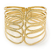 Wide Gold Plated Textured Egyptian Style Hinged Bangle Bracelet - 19cm Length