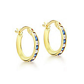 9ct Yellow Gold 14mm Blue and White CZ Creole Earrings