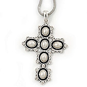 Pearl and Swarovski crystal 'Vaticana' Statement Cross Pendant and Chain (Silver Plating) - 36cm Length/ 8cm Extension
