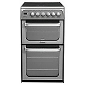 Hotpoint HUE52GS, Graphite, Electric Cooker, Double Oven, 50cm