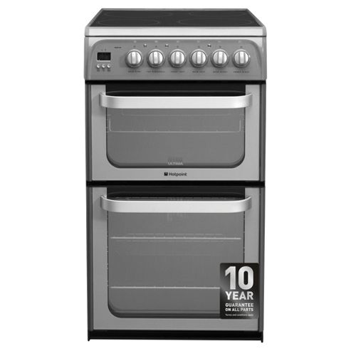 Hotpoint Ultima HUE52GS, Graphite, Twin Cavity, Double Oven, Electric 50cm
