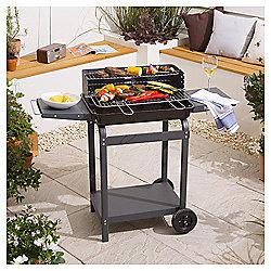 Rectangular Trolley Charcoal BBQ, Grey