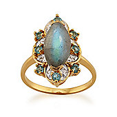Gemondo Gold Plated Sterling Silver 2.2ct Labradorite, 0.28ct Topaz & 3.2pt Diamond Ring